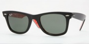 Ray-Ban RB2140 Sunglasses Original Wayfarer Sunglasses - 1016 Black on Text Red / Crystal Green