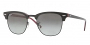 Ray-Ban RB3016 Sunglasses Clubmaster Sunglasses - (989/51)Top Red Crystal on Black Frame/Crystal Brown Gradient Lenses