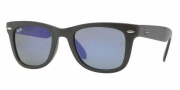 Ray-Ban RB4105 Sunglasses Folding Wayfarer Sunglasses - 601S68 Matte Blaack / Crystal Green Mirror Blue