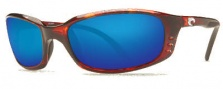 Costa Del Mar Brine Sunglasses Shiny Tortoise Frame Sunglasses - Blue Mirror Glass/COSTA 400