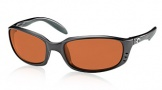 Costa Del Mar Brine Sunglasses Matte Black Frame Sunglasses - Vermillion Glass/COSTA 400