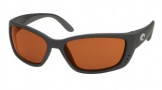 Costa Del Mar Fisch Sunglasses Shiny Black Frame Sunglasses - Copper / 580P