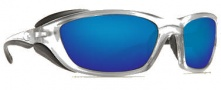 Costa Del Mar Man o War Sunglasses - Silver Frame Sunglasses - Blue Mirror / 580G