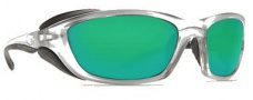 Costa Del Mar Man o War Sunglasses - Silver Frame Sunglasses - Green Mirror / 580G