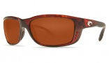 Costa Del Mar Zane Sunglasses - Shiny Tortoise Frame Sunglasses - Vermillion Glass/COSTA 400