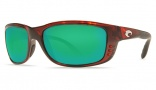 Costa Del Mar Zane Sunglasses - Shiny Tortoise Frame Sunglasses - Green Mirror Glass/COSTA 400