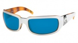 Costa Del Mar Cin - White Tortoise Frame Sunglasses - Blue Mirror Glass/COSTA 400