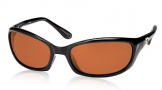 Costa Del Mar Harpoon Sunglasses Shiny Black Frame Sunglasses - Copper / 580P