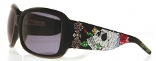 Ed Hardy EHS 001 Skull and Roses Sunglasses - Black 