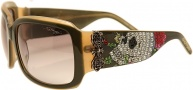 Ed Hardy EHS 001 Skull and Roses Sunglasses - Olive