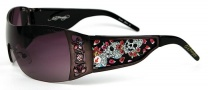 Ed Hardy EHS 022 Skull & Cherry Blossoms Sunglasses - Gunmetal