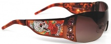 Ed Hardy EHS 022 Skull & Cherry Blossoms Sunglasses - Cocoa