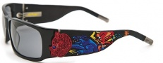Ed Hardy EHS 036 Devil on Panther Flat Sunglasses - black