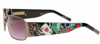 Ed Hardy EHS 041 Love Kills Slowly Clock Sunglasses - Black