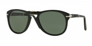 Persol PO 0714 Sunglasses (Folding) Sunglasses - (95/58) Black / Crystal Green Polarized