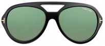 Tom Ford FT0141 Henri Sunglasses Sunglasses - O01N Shiny Black / Green Lens