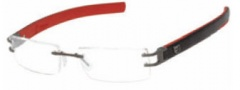 Tag Heuer L-Type 0112 Eyeglasses Eyeglasses - 004 Ceramic / Calfskin Black / Red