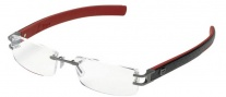 Tag Heuer L-Type 0113 Eyeglasses Eyeglasses - 004 Anthracite Ceramic Metal / Calfskin Black Leather / Red