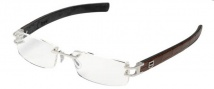 Tag Heuer L-Type 0113 Eyeglasses Eyeglasses - 011 Palladium Metal / Alligator Matte Brown Gold + Diamonds Leather / Black