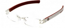 Tag Heuer L-Type 0116 Eyeglasses Eyeglasses - 016 Palladium Metal / Alligator Matte White Leather + Ruby / Red
