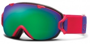 Smith Optics I/OS Snow Goggles Goggles - Neon Red Typepress / Green Sol X Mirror / Extra Red Sensor Mirror