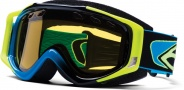 Smith Optics SNOW FUEL V.2 SWEAT-X Snowmobile Goggles Goggles - Cyan/Black-Yellow Dual Airflow AFC Lens