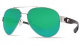 Costa Del Mar South Point Sunglasses - Palladium Frame Sunglasses - Green Mirror Glass / Costa 580