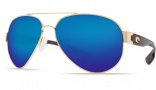 Costa Del Mar South Point Sunglasses - Gold Frame Sunglasses - Blue Mirror Glass / Costa 580