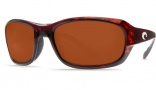 Costa Del Mar Tag Sunglasses - Tortoise Frame Sunglasses - Silver Mirror Glass / Costa 580