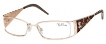 Roberto Cavalli RC0481 Eyeglasses Eyeglasses - 028 - Rose gold- brown/beige/coral red stamped lizzard leather insert
