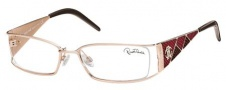 Roberto Cavalli RC0481 Eyeglasses Eyeglasses - 28A - Rose gold- burgundy/brown/coral red stamped lizzard leather insert