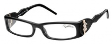 Roberto Cavalli RC0483 Eyeglasses Eyeglasses - 001 - Black- black leather insert iguana effect, rose gold logo