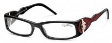 Roberto Cavalli RC0483 Eyeglasses Eyeglasses - 01A - Black- burgundy leather insert iguana effect, rose gold logo