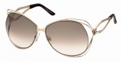 Roberto Cavalli RC527S Sunglasses Sunglasses - 28F - Rose gold, gold/brown zebra effect temple tips, gradient brown lenses