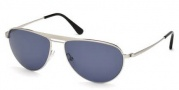 Tom Ford FT0207 William Sunglasses Sunglasses - 17V Silver/Blue Lens