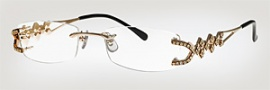 Caviar 1655 Eyeglasses Eyeglasses - (21) Gold W/ Clear Crystal Stones / Light Brown Lens
