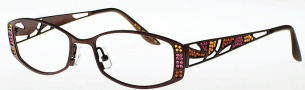 Caviar 1709 Eyeglasses Eyeglasses - (16) Brown / Gold w/ Purple / Topaz Crystal Stones
