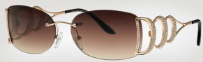 Caviar 6844 Sunglasses Sunglasses - (21) Gold w/ Clear Crystal Stones w/ Brown Lens