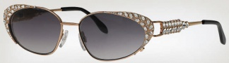 Caviar 5569 Sunglasses Sunglasses - (21) Gold w/ Clear Crystal Stones / Brown Lens