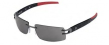Tag Heuer L-Type LW 0401 Sunglasses Sunglasses - 120 Calfsking Black & Red Temples / Anthracite Ceramic Lug / Grey Lenses