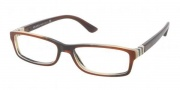 Prada PR 09OV Eyeglasses Eyeglasses - EAP1O1  Top Striped Brown Horn