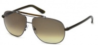 Tom Ford FT0243 Adrian Sunglasses Sunglasses - 08P Shiny Gunmetal / Gradient Green