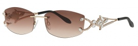 Caviar 5581 Sunglasses Sunglasses - 21 Gold w/ Clear Crystal Stones (Brown Lens)