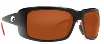Costa Del Mar Cheeca Sunglasses Black Coral Frame Sunglasses - Dark Amber / 580P