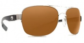 Costa Del Mar Cocos Sunglasses Palladium Frame Sunglasses - Dark Amber / 580P
