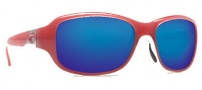 Costa Del Mar Las Olas Sunglasses - Coral White Frame Sunglasses - Blue Mirror / 580G