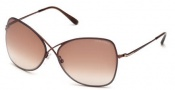 Tom Ford FT0250 Colette Sunglasses Sunglasses - 48F Shiny Dark Brown