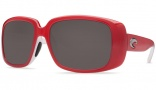 Costa Del Mar Little Harbor Sunglasses Coral White Frame Sunglasses - Dark Gray / 400G