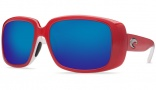 Costa Del Mar Little Harbor Sunglasses Coral White Frame Sunglasses - Blue Mirror / 580G