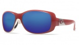 Costa Del Mar Tippet Sunglasses Coral White Frame Sunglasses - Blue Mirror / 580G